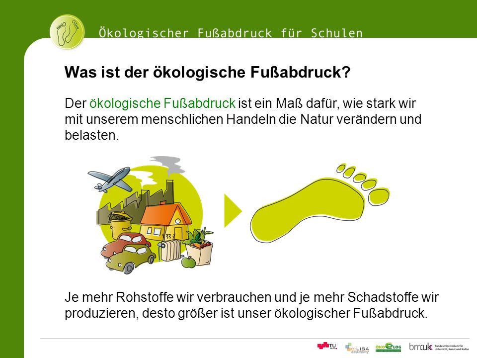 11Ökologischer Fußabdrucksrechner für Schulen Was ist der ökologische Fußabdruck? Der ökologische Fußabdruck ist ein Maß dafür, wie stark wir mit unse