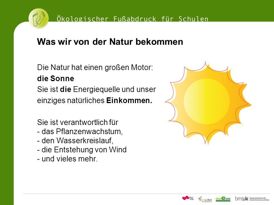 11Ökologischer Fußabdrucksrechner für Schulen Was wir von der Natur bekommen Die Natur hat einen großen Motor: die Sonne Sie ist die Energiequelle und