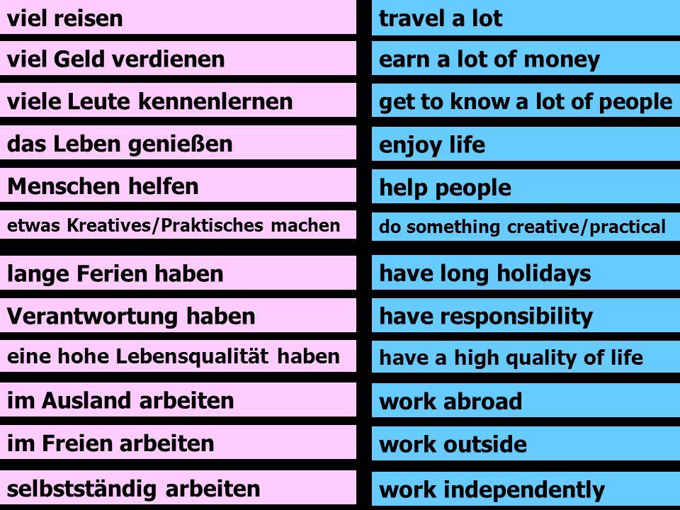 viel reisen viel Geld verdienen viele Leute kennenlernen das Leben genießen Menschen helfen etwas Kreatives/Praktisches machen lange Ferien haben Vera