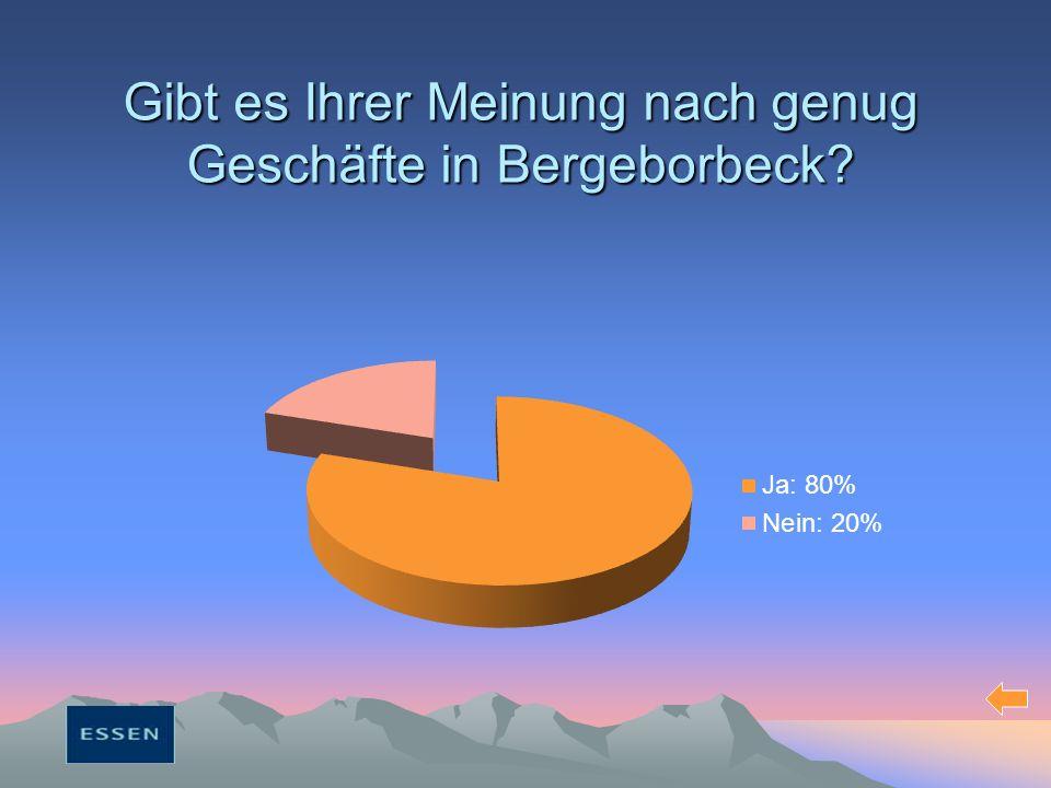 Gibt es Ihrer Meinung nach genug Geschäfte in Bergeborbeck?