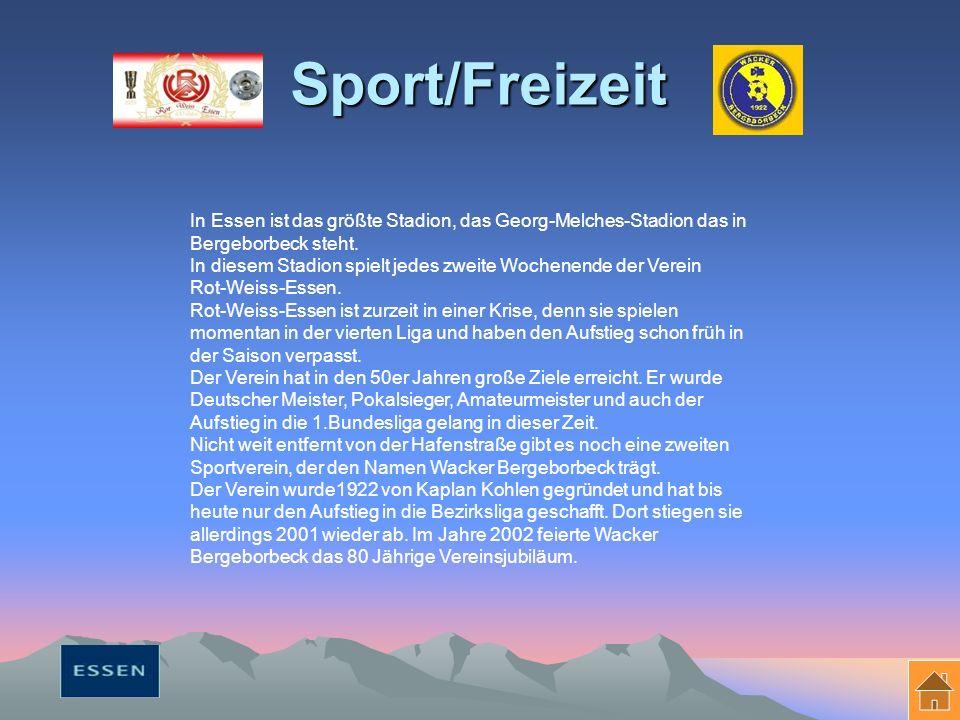 Sport/Freizeit In Essen ist das größte Stadion, das Georg-Melches-Stadion das in Bergeborbeck steht.