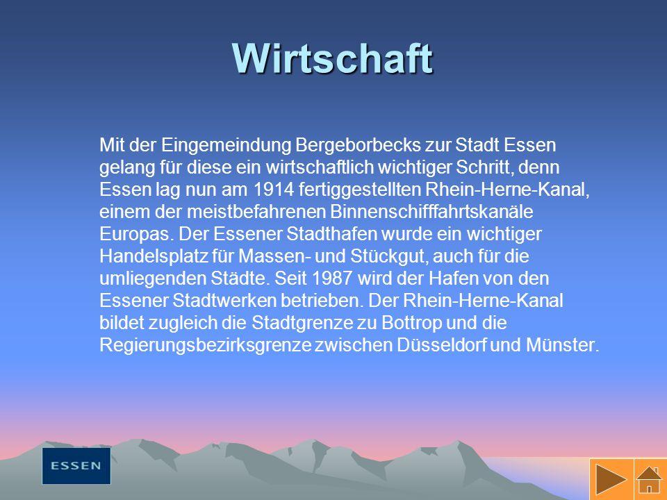 Wirtschaft Mit der Eingemeindung Bergeborbecks zur Stadt Essen gelang für diese ein wirtschaftlich wichtiger Schritt, denn Essen lag nun am 1914 fertiggestellten Rhein-Herne-Kanal, einem der meistbefahrenen Binnenschifffahrtskanäle Europas.
