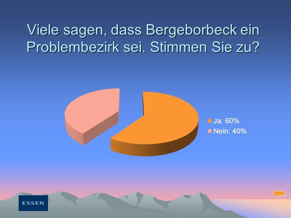 Viele sagen, dass Bergeborbeck ein Problembezirk sei. Stimmen Sie zu?