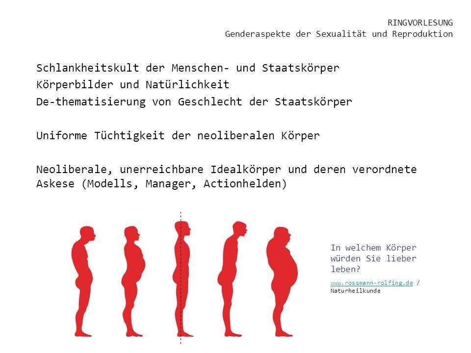 RINGVORLESUNG Genderaspekte der Sexualität und Reproduktion Schlankheitskult der Menschen- und Staatskörper Körperbilder und Natürlichkeit De-thematis