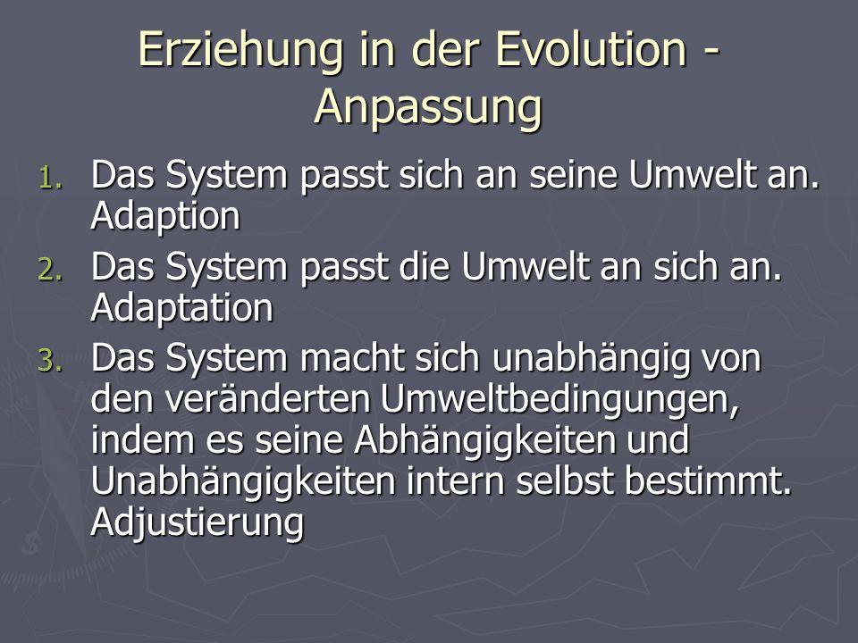 Erziehung in der Evolution - Anpassung 1. Das System passt sich an seine Umwelt an. Adaption 2. Das System passt die Umwelt an sich an. Adaptation 3.