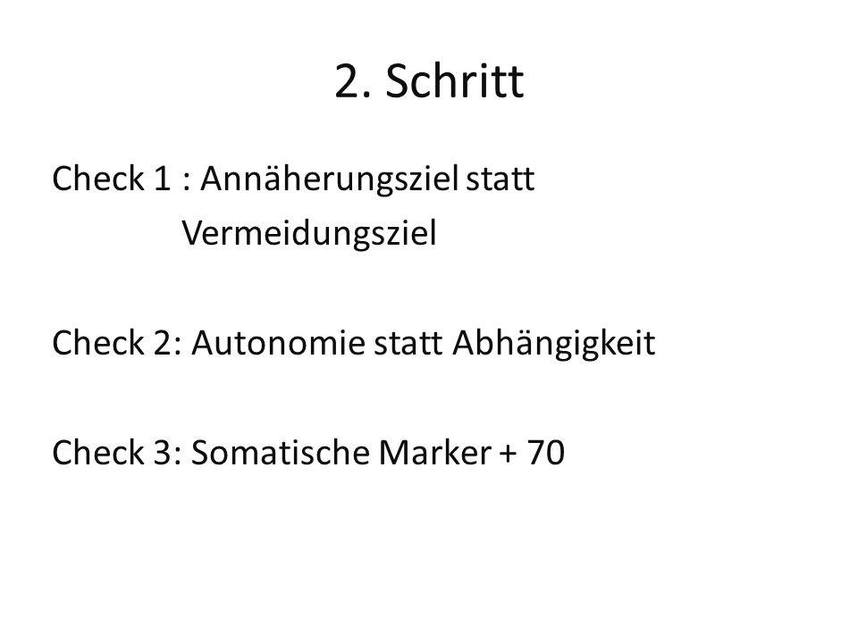 2. Schritt Check 1 : Annäherungsziel statt Vermeidungsziel Check 2: Autonomie statt Abhängigkeit Check 3: Somatische Marker + 70