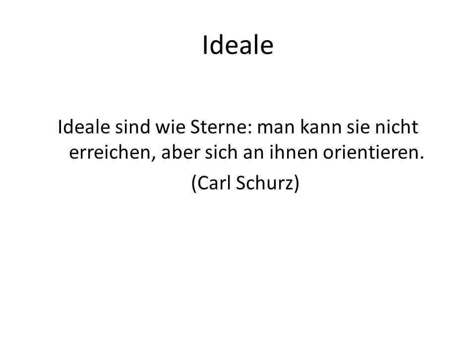 Ideale Ideale sind wie Sterne: man kann sie nicht erreichen, aber sich an ihnen orientieren.