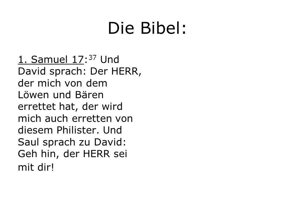 Die Bibel: 1. Samuel 17: 37 Und David sprach: Der HERR, der mich von dem Löwen und Bären errettet hat, der wird mich auch erretten von diesem Philiste