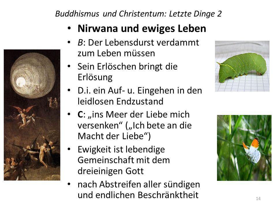 Buddhismus und Christentum: Letzte Dinge 2 Nirwana und ewiges Leben B: Der Lebensdurst verdammt zum Leben müssen Sein Erlöschen bringt die Erlösung D.i.
