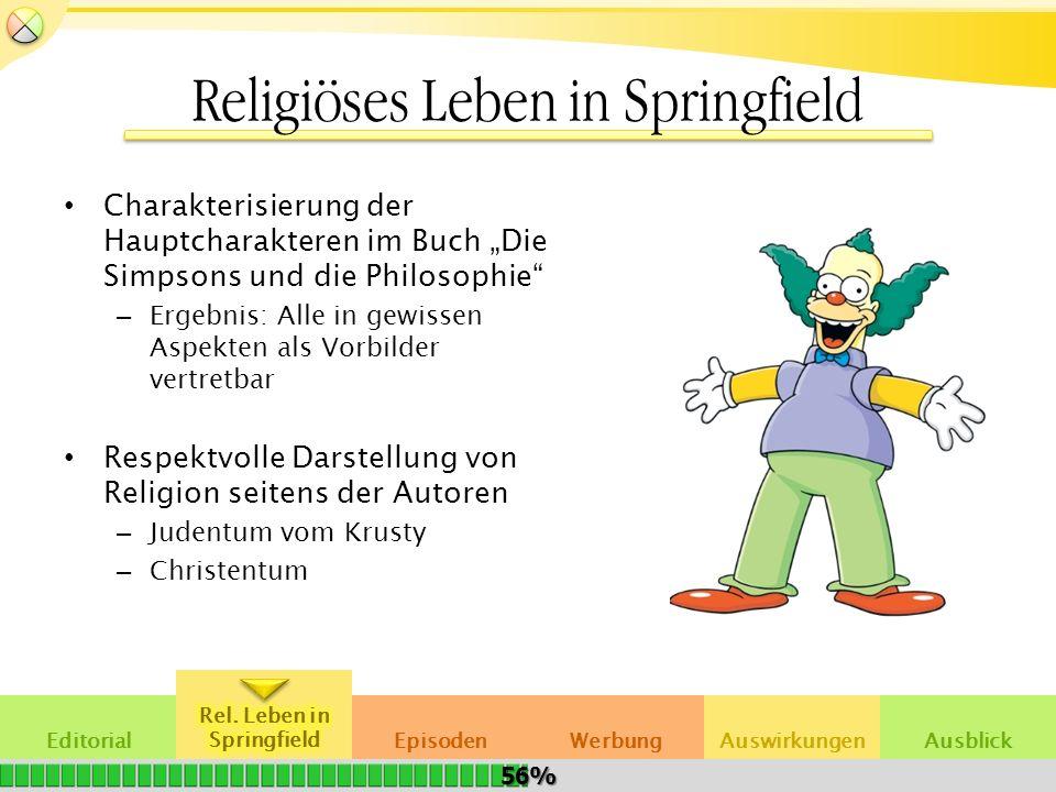 EditorialAuswirkungenWerbungEpisodenAusblick Religiöses Leben in Springfield Charakterisierung der Hauptcharakteren im Buch Die Simpsons und die Philo