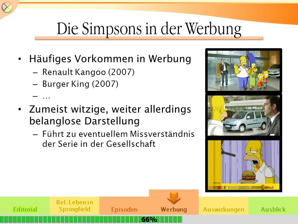 Die Simpsons in der Werbung Häufiges Vorkommen in Werbung – Renault Kangoo (2007) – Burger King (2007) –…–… Zumeist witzige, weiter allerdings belangl