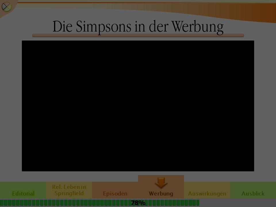 Die Simpsons in der Werbung Rel. Leben in SpringfieldAuswirkungen Werbung EpisodenAusblick 78%