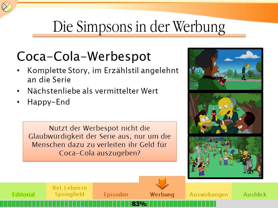 Die Simpsons in der Werbung Coca-Cola-Werbespot Komplette Story, im Erzählstil angelehnt an die Serie Nächstenliebe als vermittelter Wert Happy-End Re