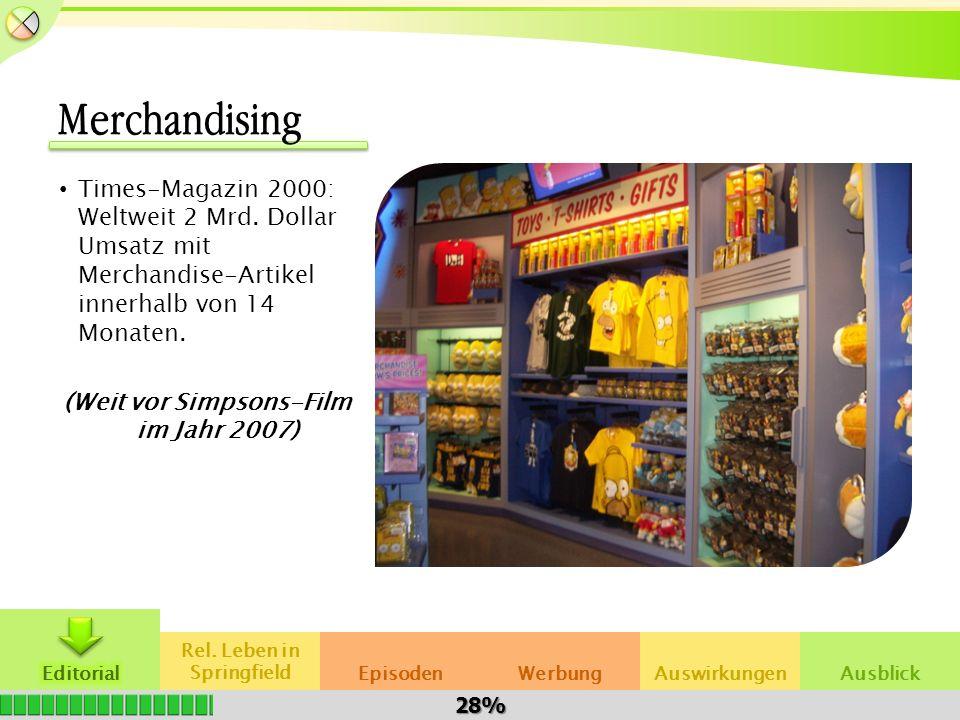 Rel. Leben in SpringfieldAuswirkungenWerbungEpisodenAusblick Merchandising Times-Magazin 2000: Weltweit 2 Mrd. Dollar Umsatz mit Merchandise-Artikel i