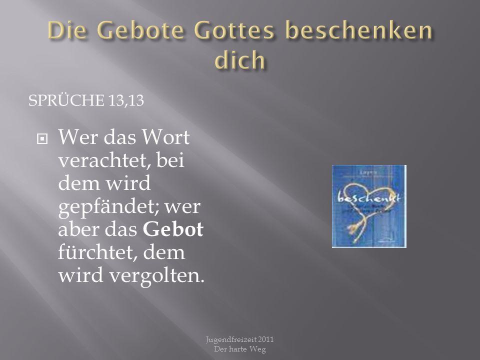 SPRÜCHE 13,13 Wer das Wort verachtet, bei dem wird gepfändet; wer aber das Gebot fürchtet, dem wird vergolten. Jugendfreizeit 2011 Der harte Weg