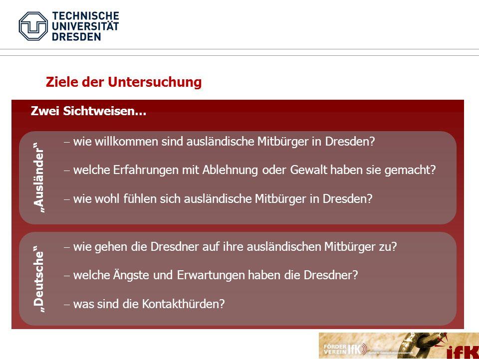 Ziel der Studie Ziele der Untersuchung Zwei Sichtweisen… wie willkommen sind ausländische Mitbürger in Dresden? welche Erfahrungen mit Ablehnung oder