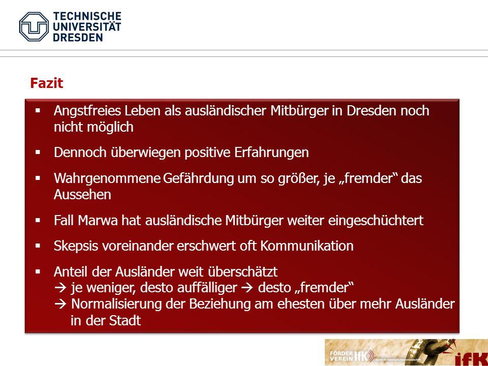 Angstfreies Leben als ausländischer Mitbürger in Dresden noch nicht möglich Dennoch überwiegen positive Erfahrungen Wahrgenommene Gefährdung um so grö