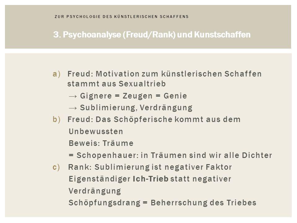 a)Freud: Motivation zum künstlerischen Schaffen stammt aus Sexualtrieb Gignere = Zeugen = Genie Sublimierung, Verdrängung b)Freud: Das Schöpferische kommt aus dem Unbewussten Beweis: Träume = Schopenhauer: in Träumen sind wir alle Dichter c) Rank: Sublimierung ist negativer Faktor Eigenständiger Ich-Trieb statt negativer Verdrängung Schöpfungsdrang = Beherrschung des Triebes 3.