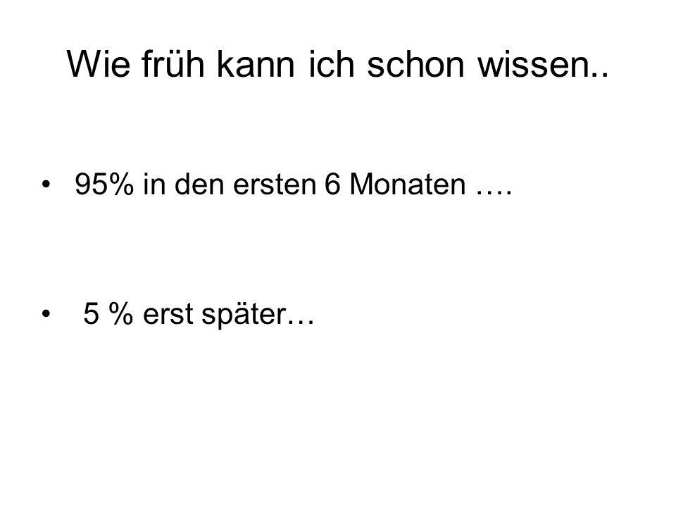 Wie früh kann ich schon wissen.. 95% in den ersten 6 Monaten …. 5 % erst später…