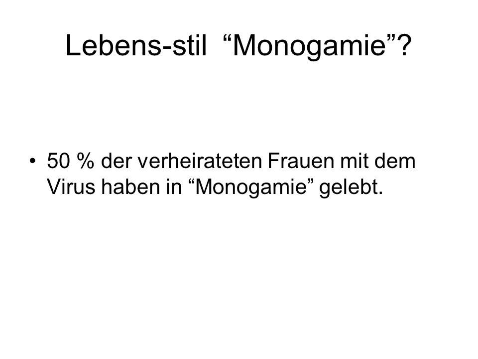 Lebens-stil Monogamie? 50 % der verheirateten Frauen mit dem Virus haben in Monogamie gelebt.