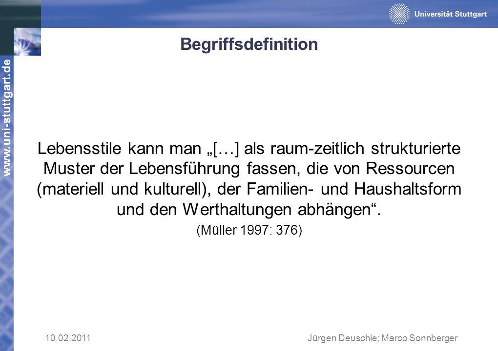 www.uni-stuttgart.de Begriffsdefinition Lebensstile kann man […] als raum-zeitlich strukturierte Muster der Lebensführung fassen, die von Ressourcen (