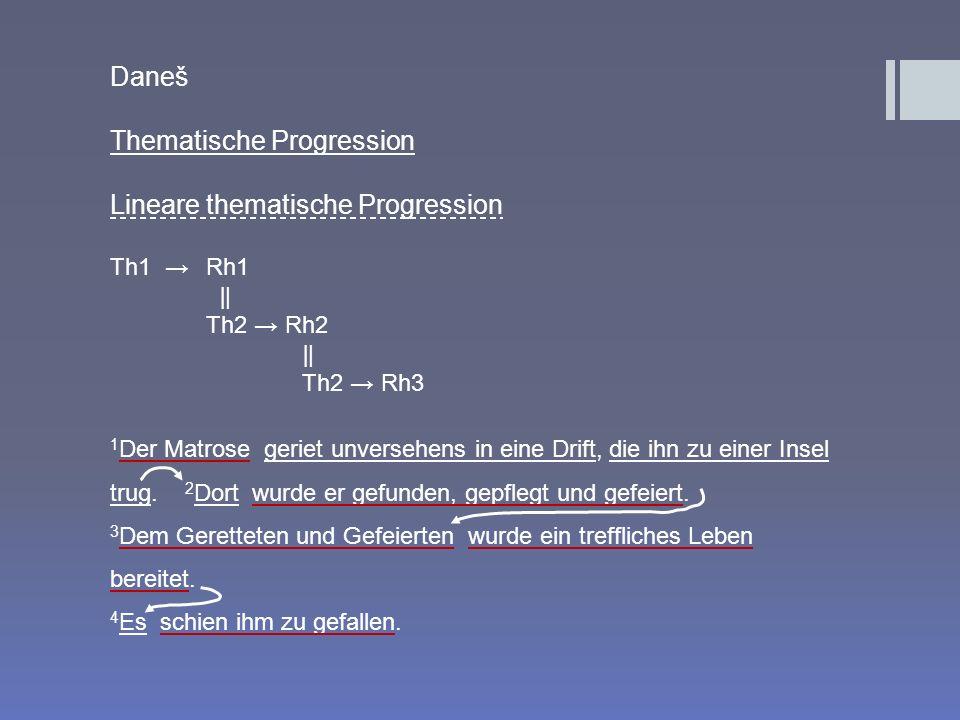Daneš Thematische Progression Lineare thematische Progression Th1 Rh1 Th2 Rh2 Th2 Rh3 1 Der Matrose geriet unversehens in eine Drift, die ihn zu einer
