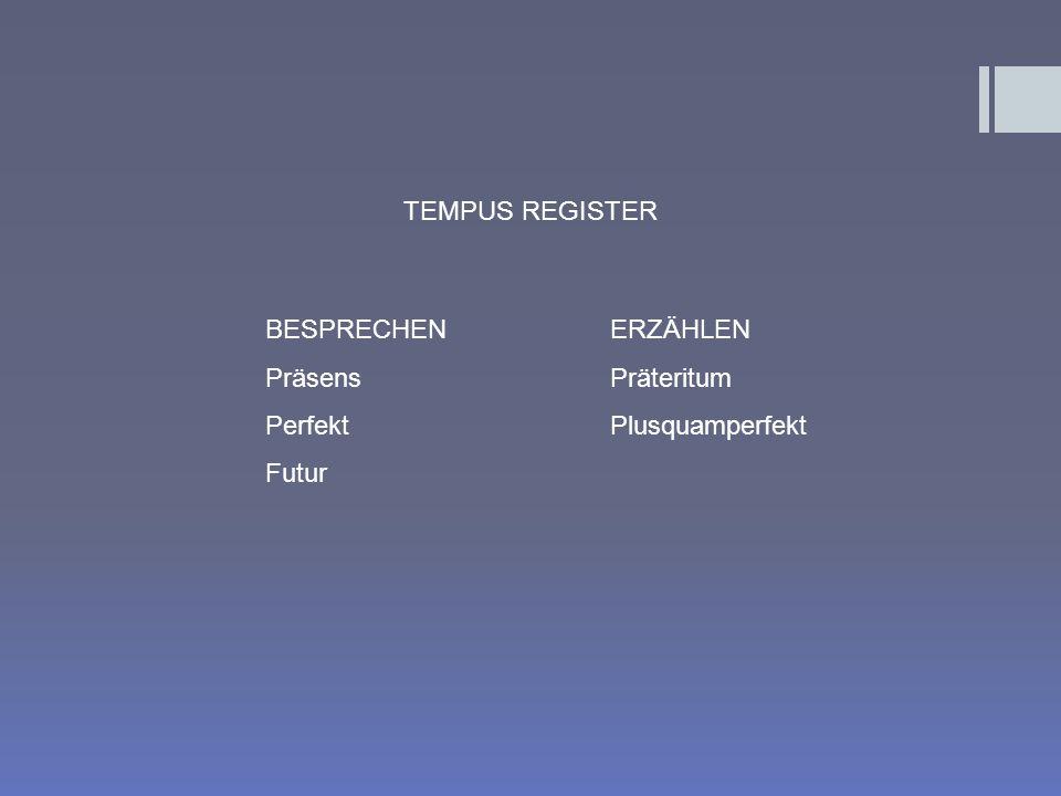 BESPRECHEN Präsens Perfekt Futur ERZÄHLEN Präteritum Plusquamperfekt TEMPUS REGISTER
