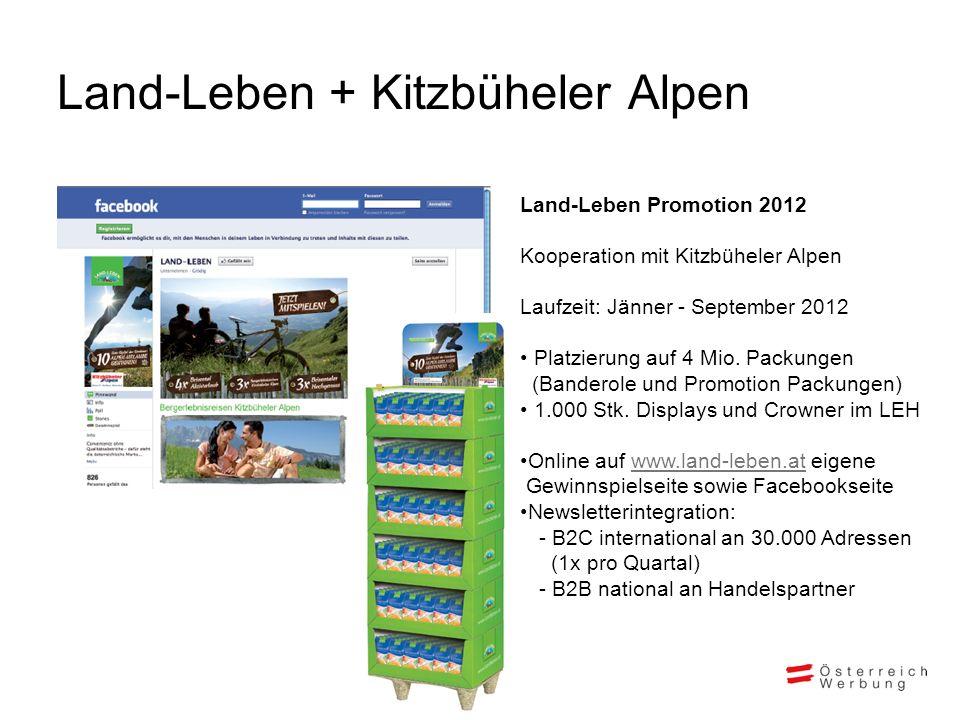 Land-Leben + Kitzbüheler Alpen Land-Leben Promotion 2012 Kooperation mit Kitzbüheler Alpen Laufzeit: Jänner - September 2012 Platzierung auf 4 Mio.