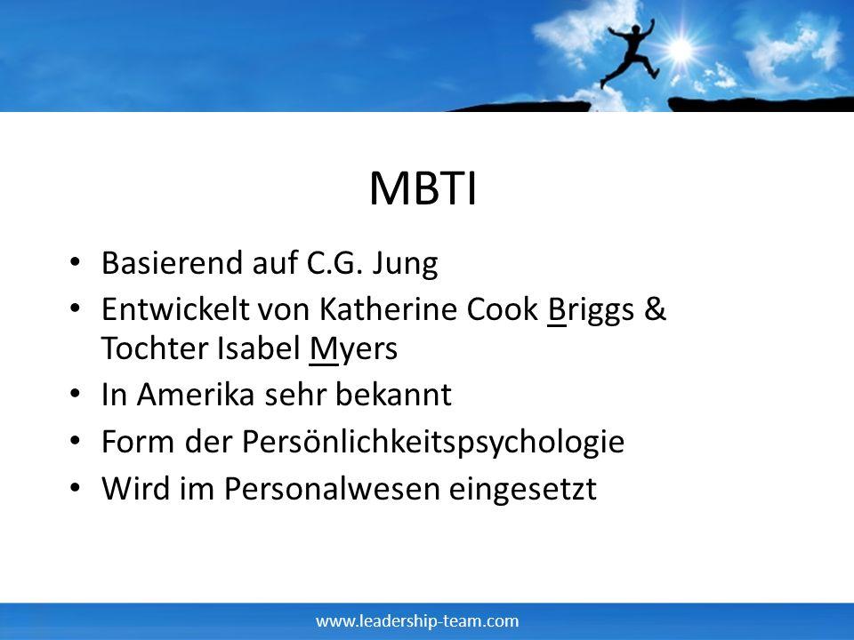 www.leadership-team.com MBTI Basierend auf C.G. Jung Entwickelt von Katherine Cook Briggs & Tochter Isabel Myers In Amerika sehr bekannt Form der Pers