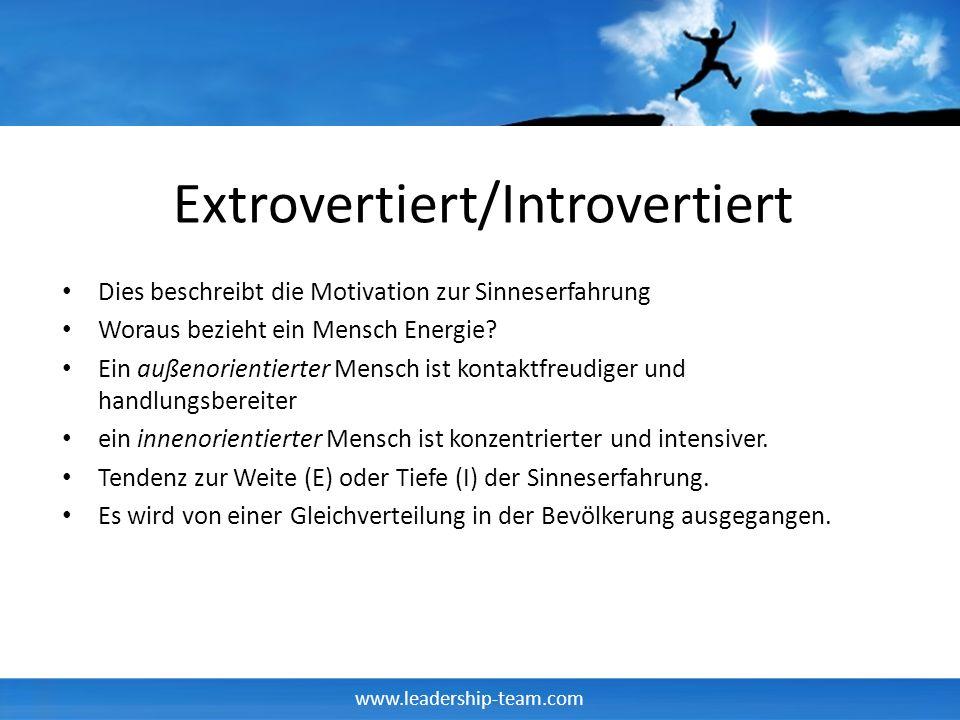 www.leadership-team.com Extrovertiert/Introvertiert Dies beschreibt die Motivation zur Sinneserfahrung Woraus bezieht ein Mensch Energie? Ein außenori