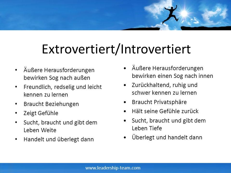 www.leadership-team.com Extrovertiert/Introvertiert Äußere Herausforderungen bewirken Sog nach außen Freundlich, redselig und leicht kennen zu lernen