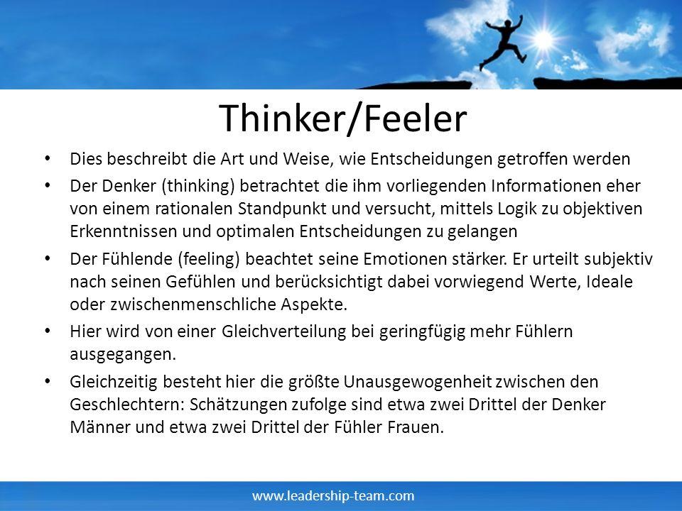 www.leadership-team.com Thinker/Feeler Dies beschreibt die Art und Weise, wie Entscheidungen getroffen werden Der Denker (thinking) betrachtet die ihm