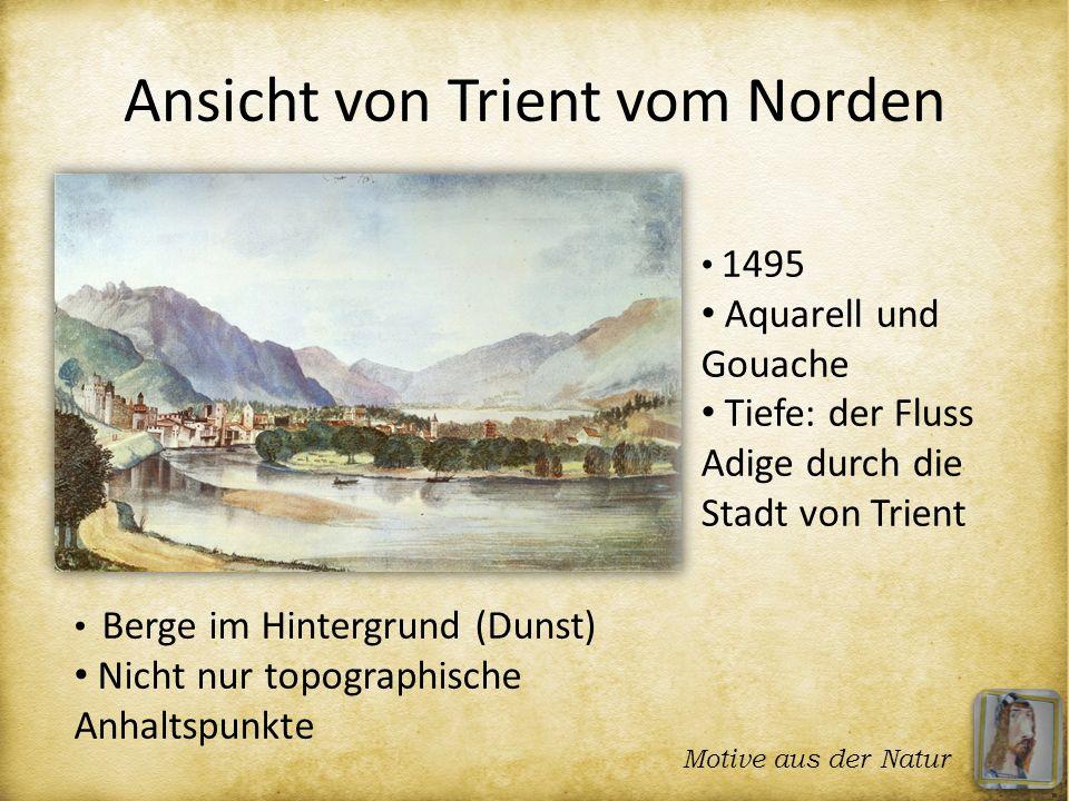 Ansicht von Trient vom Norden 1495 Aquarell und Gouache Tiefe: der Fluss Adige durch die Stadt von Trient Berge im Hintergrund (Dunst) Nicht nur topog
