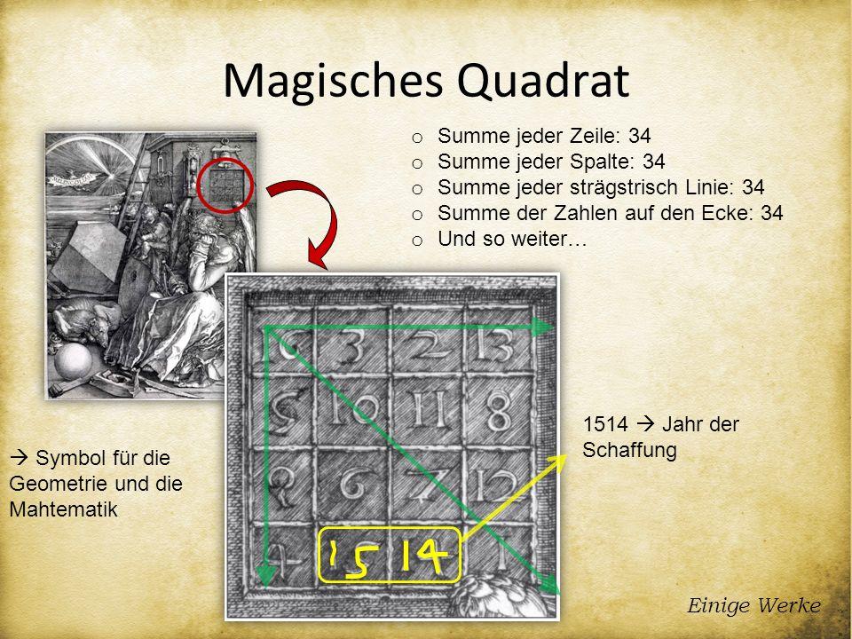 Magisches Quadrat Einige Werke o Summe jeder Zeile: 34 o Summe jeder Spalte: 34 o Summe jeder strägstrisch Linie: 34 o Summe der Zahlen auf den Ecke: