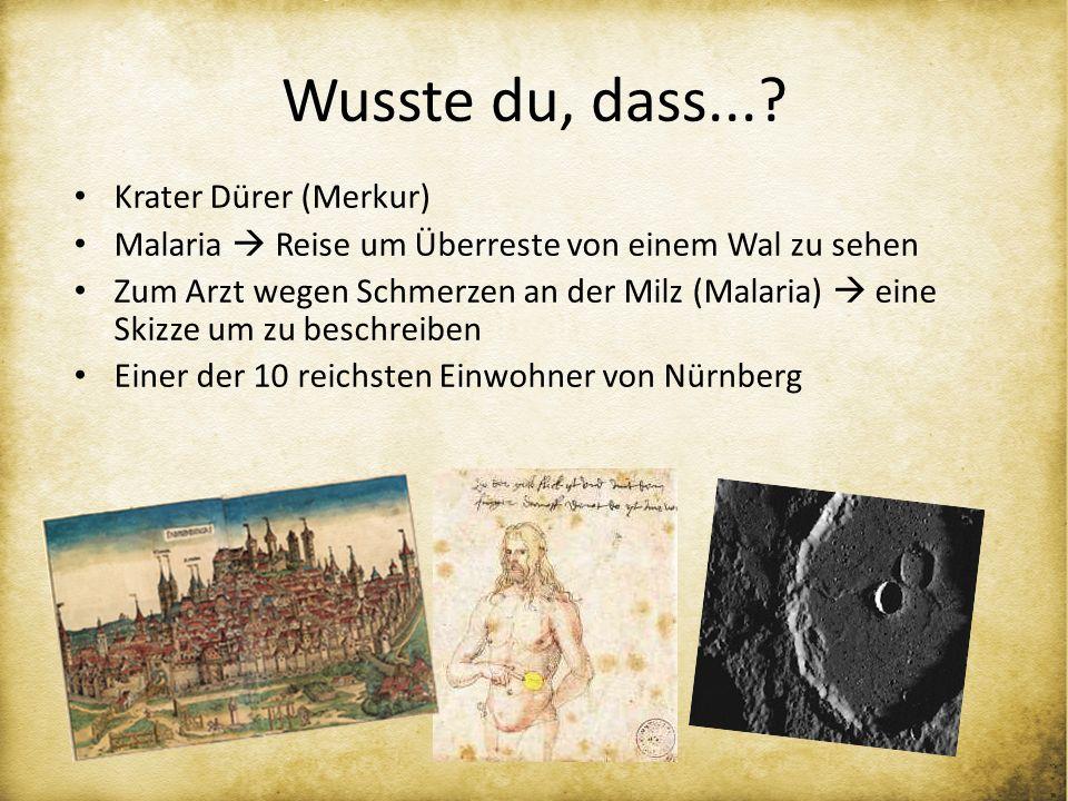 Wusste du, dass...? Krater Dürer (Merkur) Malaria Reise um Überreste von einem Wal zu sehen Zum Arzt wegen Schmerzen an der Milz (Malaria) eine Skizze