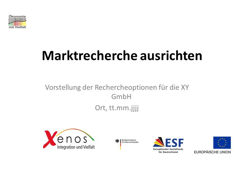 Marktrecherche ausrichten Vorstellung der Rechercheoptionen für die XY GmbH Ort, tt.mm.jjjj