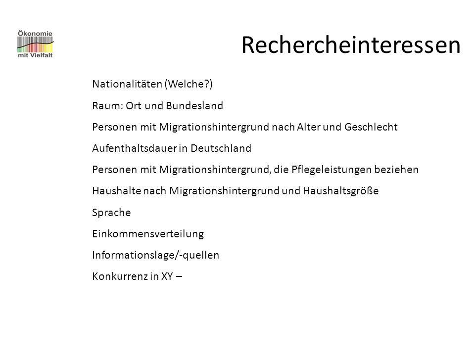 Rechercheinteressen Nationalitäten (Welche?) Raum: Ort und Bundesland Personen mit Migrationshintergrund nach Alter und Geschlecht Aufenthaltsdauer in