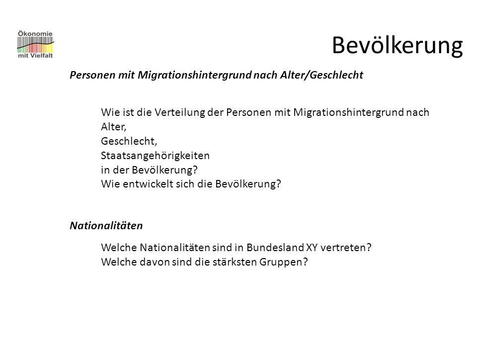 Bevölkerung Personen mit Migrationshintergrund nach Alter/Geschlecht Wie ist die Verteilung der Personen mit Migrationshintergrund nach Alter, Geschle
