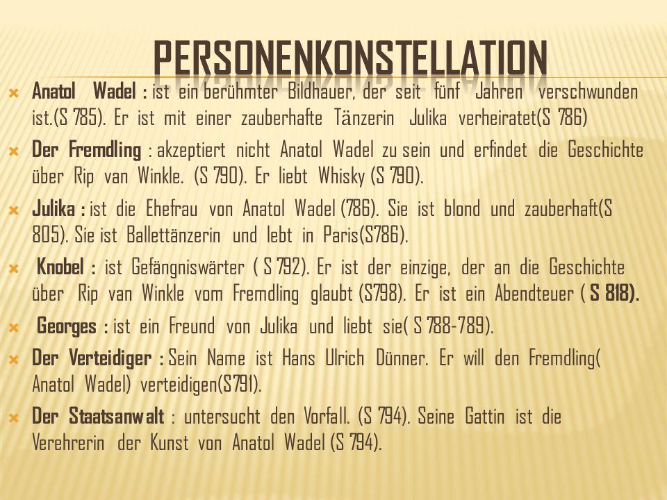 Anatol Wadel : ist ein berühmter Bildhauer, der seit fünf Jahren verschwunden ist.(S 785). Er ist mit einer zauberhafte T ӓ nzerin Julika verheiratet(