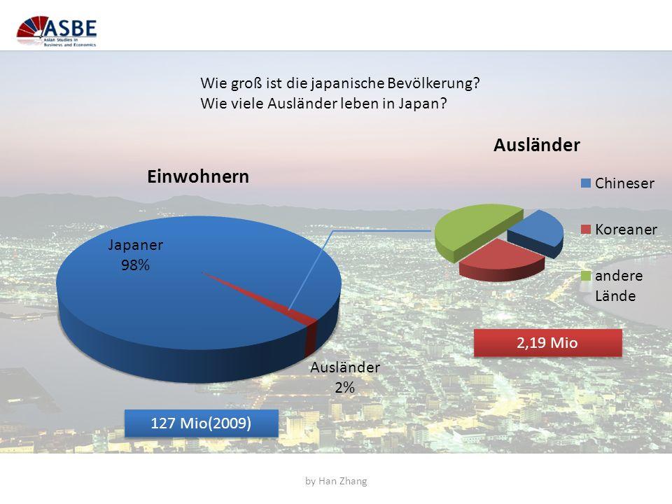 Wie groß ist die japanische Bevölkerung? Wie viele Ausländer leben in Japan? 127 Mio(2009) 2,19 Mio by Han Zhang