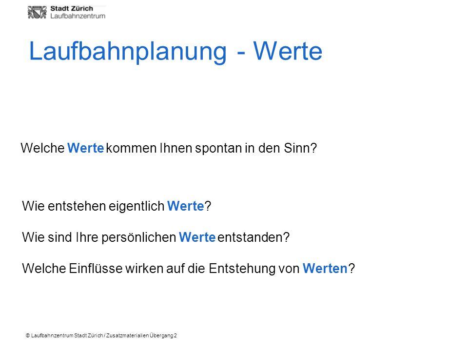 © Laufbahnzentrum Stadt Zürich / Zusatzmaterialien Übergang 2 Welche Werte kommen Ihnen spontan in den Sinn? Wie entstehen eigentlich Werte? Wie sind