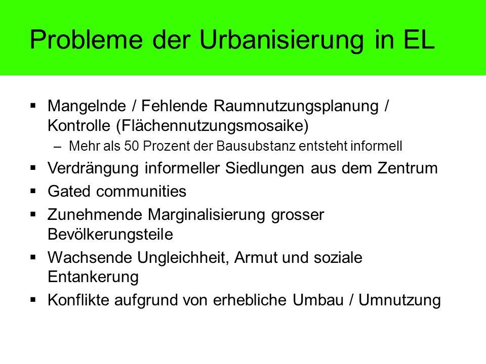 Probleme der Urbanisierung in EL Mangelnde / Fehlende Raumnutzungsplanung / Kontrolle (Flächennutzungsmosaike) –Mehr als 50 Prozent der Bausubstanz en