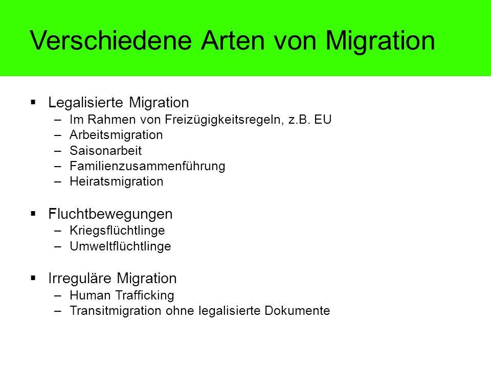 Legalisierte Migration –Im Rahmen von Freizügigkeitsregeln, z.B. EU –Arbeitsmigration –Saisonarbeit –Familienzusammenführung –Heiratsmigration Fluchtb