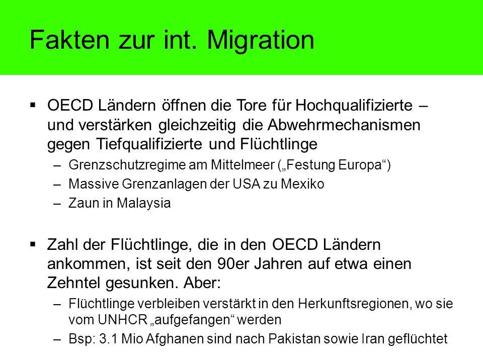 OECD Ländern öffnen die Tore für Hochqualifizierte – und verstärken gleichzeitig die Abwehrmechanismen gegen Tiefqualifizierte und Flüchtlinge –Grenzs