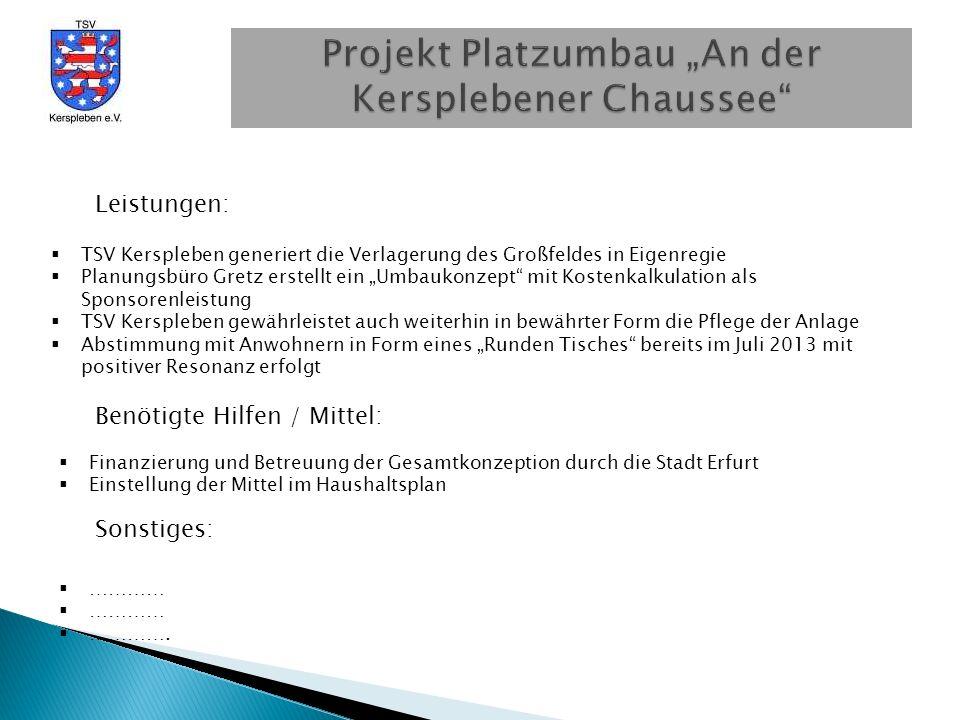 Projekt Platzumbau An der Kersplebener Chaussee 65 m 127 m 90 m Platz: alt Großfeld Rasen Kleinfeld Kunstrasen 100m - Bahn Optimale Gestaltung nach Projektabschluss 35 m
