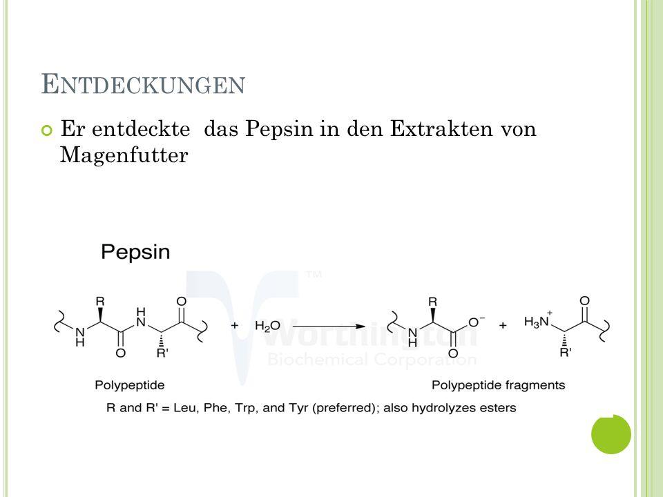 E NTDECKUNGEN Er entdeckte das Pepsin in den Extrakten von Magenfutter