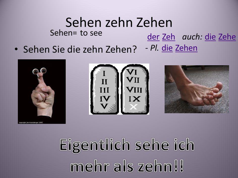 Sehen zehn Zehen Sehen Sie die zehn Zehen? Sehen= to see der Zeh auch: die Zehe derZehdieZehe - Pl. die ZehendieZehen