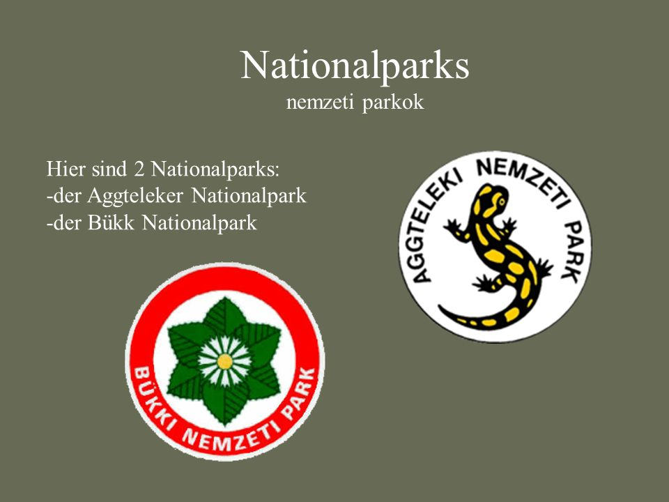 Nationalparks nemzeti parkok Hier sind 2 Nationalparks: -der Aggteleker Nationalpark -der Bükk Nationalpark