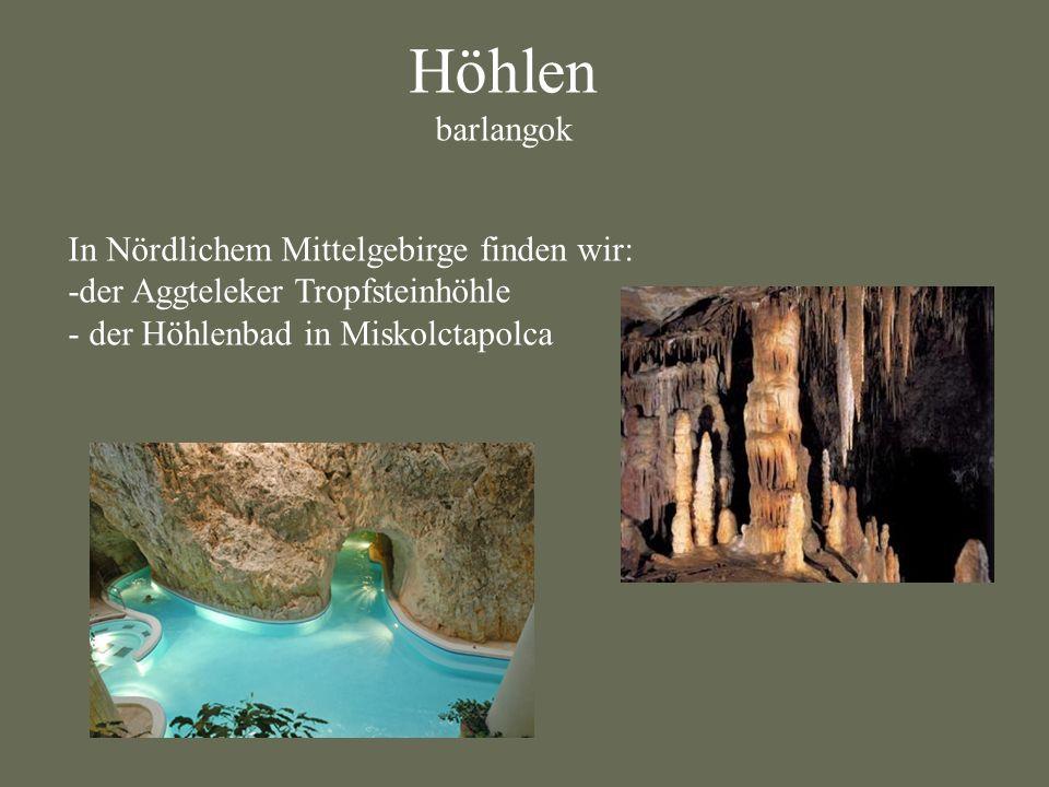 Höhlen barlangok In Nördlichem Mittelgebirge finden wir: -der Aggteleker Tropfsteinhöhle - der Höhlenbad in Miskolctapolca