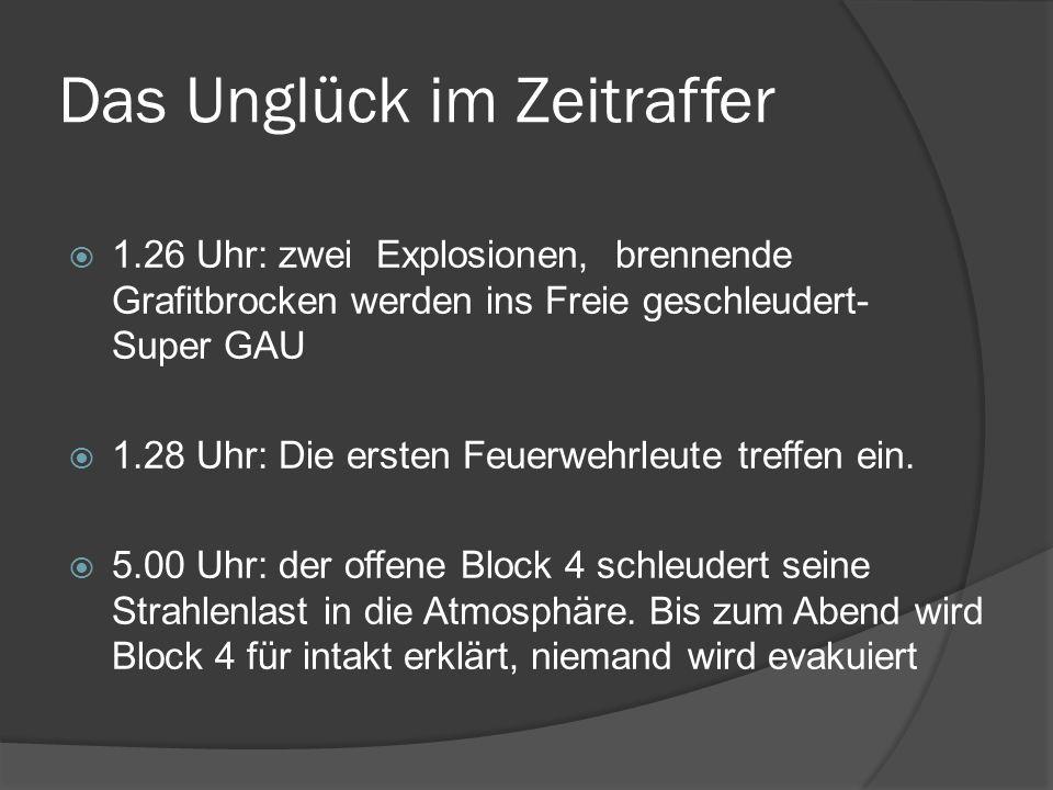 Das Unglück im Zeitraffer 1.26 Uhr: zwei Explosionen, brennende Grafitbrocken werden ins Freie geschleudert- Super GAU 1.28 Uhr: Die ersten Feuerwehrl